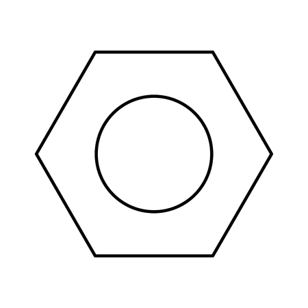 Hex nut black color icon Vector illustration.