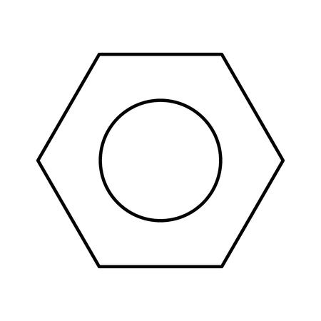 Hex nut   black color icon Vector illustration. Illustration
