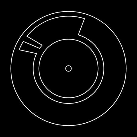 Vinyl record. Retro sound carrier white path icon Vector illustration.