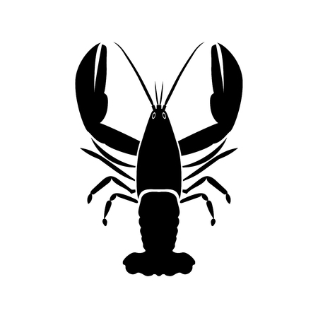 Craw fish black color icon Vector illustration.