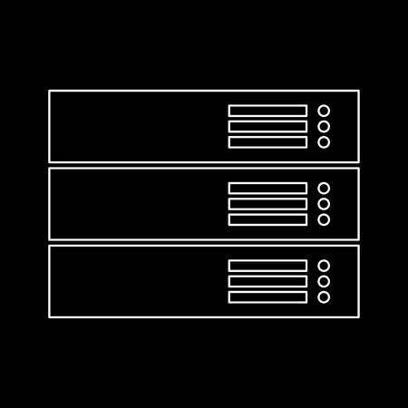 Server white path icon Vector illustration.