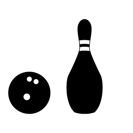 Pin and bowling ball black color icon Vector illustration.