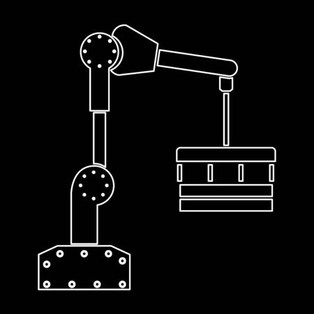 Robotic hand manipulator  white path icon Vector illustration.