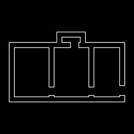 Wohnung planen, ist es weiße Weg-Symbol. Standard-Bild - 83661817