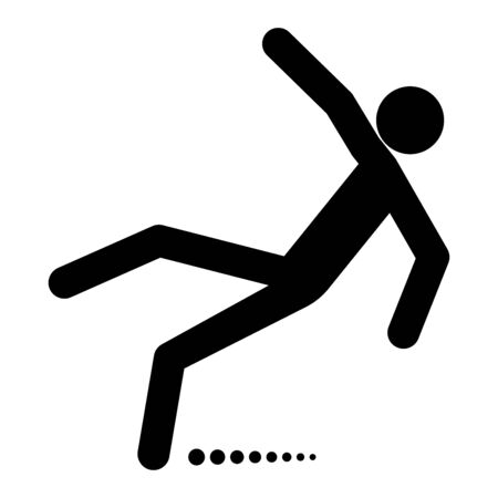 Man slip fall it is black color icon .