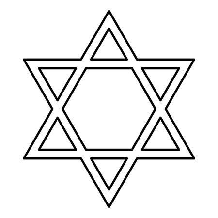 Jewish star of David it is black color icon .