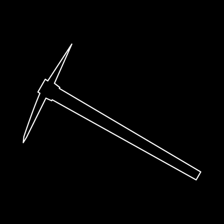 Pickaxe it is white path icon . Illustration