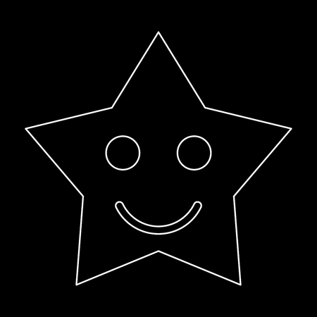 Smiling star it is white path icon .