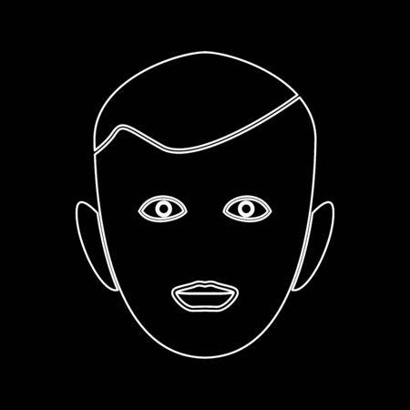 Little boy face it is white path icon .