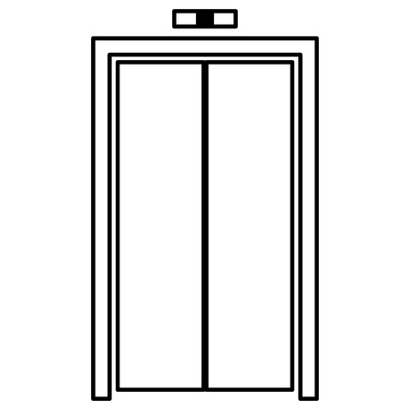 sliding colors: Elevator doors it is black color icon . Illustration