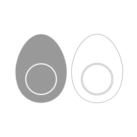 Piece egg it is grey set icon . Illustration