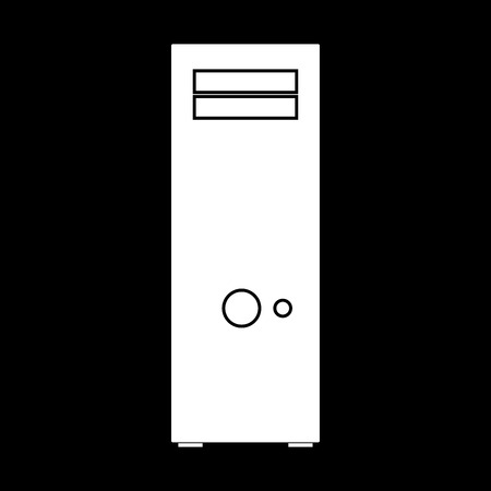hardware: Computer case or system unit it is white color icon . Illustration