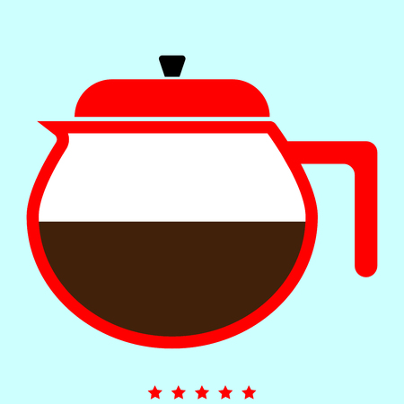 Teapot it is it is color icon . Simple style . Illustration
