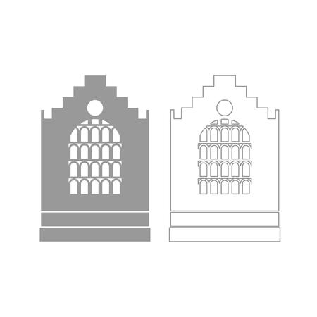 Kirche Gebäude ist grau gesetzt Symbol. Standard-Bild - 83915645