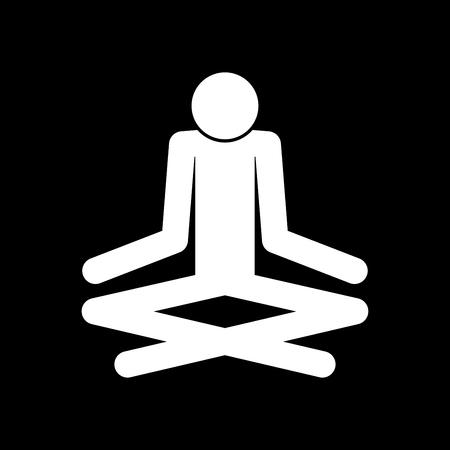 Man yoga stick es icono de color blanco. Foto de archivo - 83915642