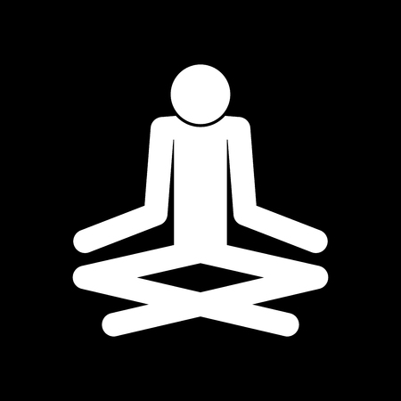 Man yoga stick it is white color icon .
