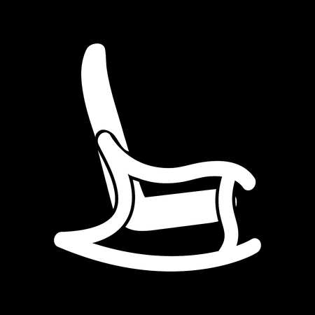 Rocking chair it is white color icon . Illustration