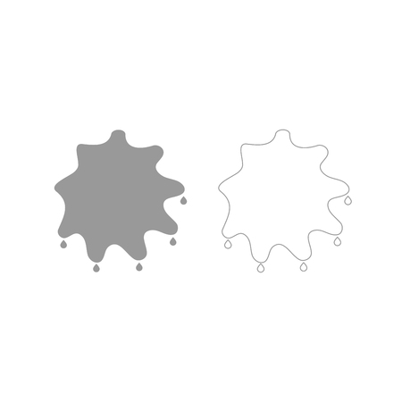 Abstract ink blot it is grey set icon . Illustration