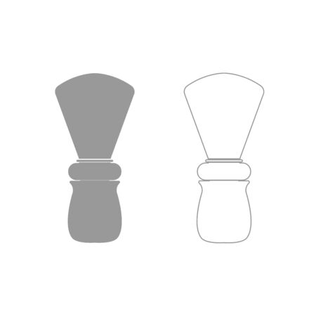 personal grooming: Shaving brush it is grey set icon .