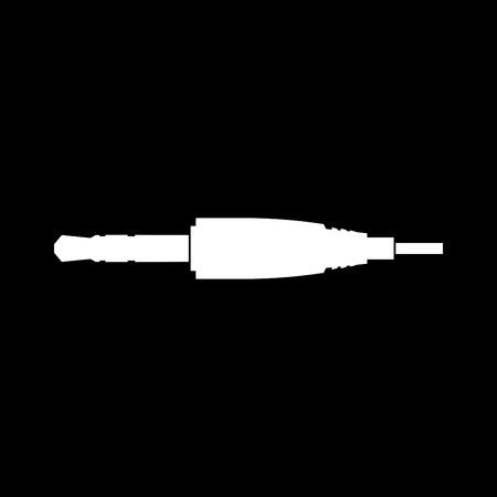 Studio  audio cable connector or mini jack it is white color icon .