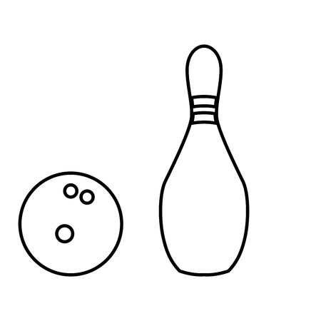 Pin and bowling ball it is black color icon .