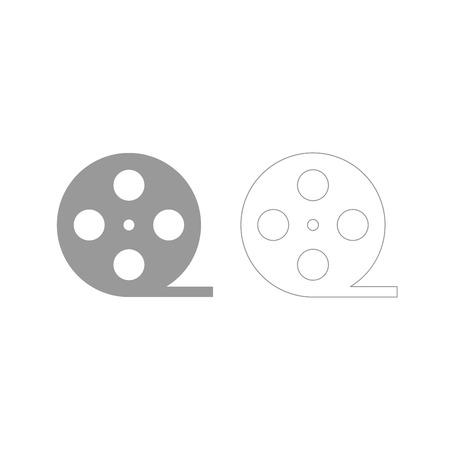 Film strip it is grey set icon .