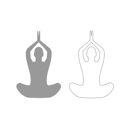 Yoga pose of woman it is grey set icon .