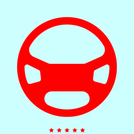 Steering wheel it is color icon . Simple style . Illustration