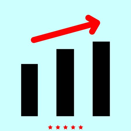 Growth chart it is color icon . Simple style .