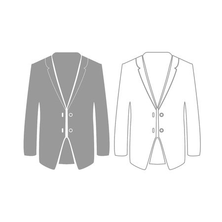 Business suit it is grey set icon . Illustration
