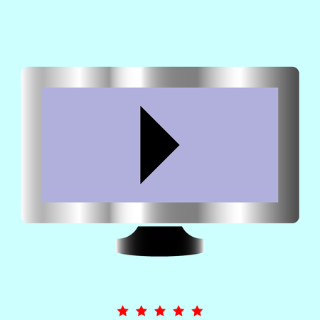 Tv with Mark playing video it is color icon . Simple style . Illustration