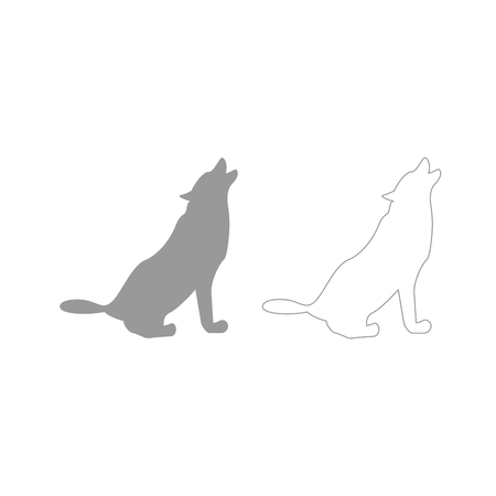 Silhouette of the wolf it is grey set icon .