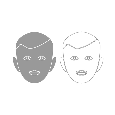 Little boy face it is grey set icon .