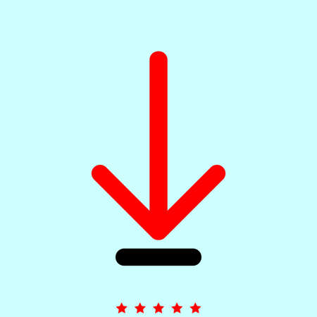 Down arrow or load symbol it is color icon . Simple style . Illustration