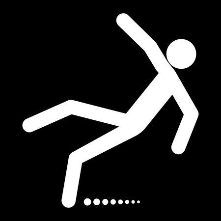 Man slip fall it is white color icon .