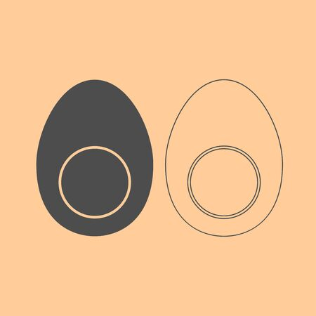 Piece egg it is dark grey set icon .