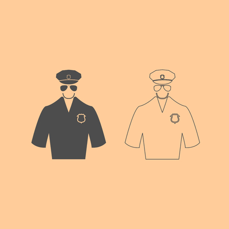 female police: Police it is dark grey set icon . Illustration