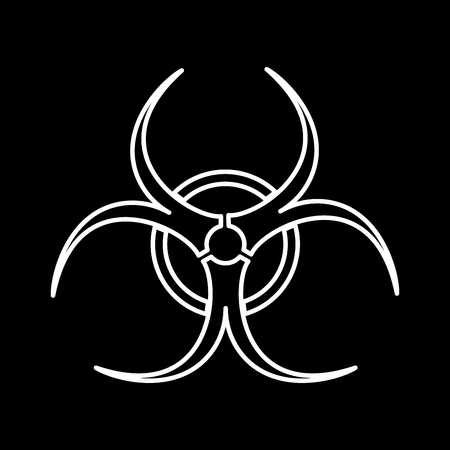 Biological danger it is white color icon .