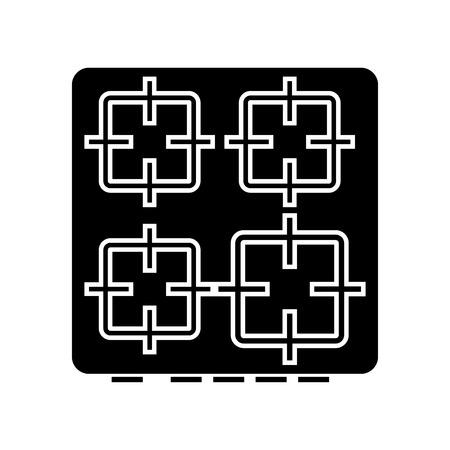 La superficie de la cocina es icono de color negro. Foto de archivo - 84354112