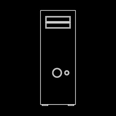 Computer case or system unit it is white color icon . Illustration