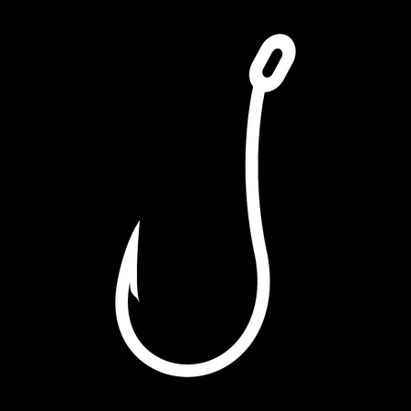 Fish hook it is white color icon . Illustration