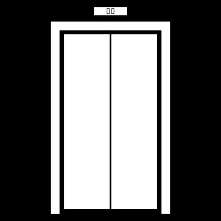 Elevator doors it is white color icon .