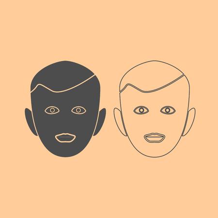 Little boy face it is dark grey set icon . Illustration