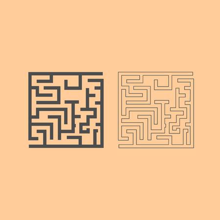 Labyrinth, maze conundrum it is dark grey set icon . Çizim