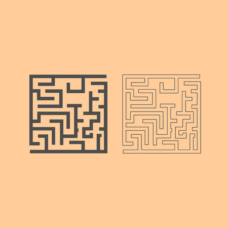 Labyrinth, maze conundrum it is dark grey set icon . Illustration