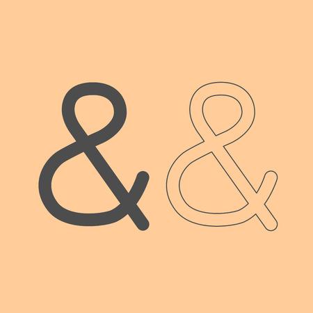 Ampersand it is dark grey set icon .