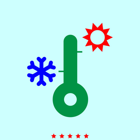 Thermometer  set  it is color icon . Simple style . Illustration