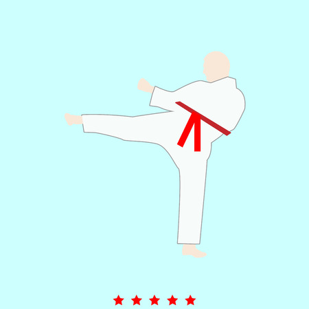 aikido: Karate man  set  it is color icon . Simple style . Illustration