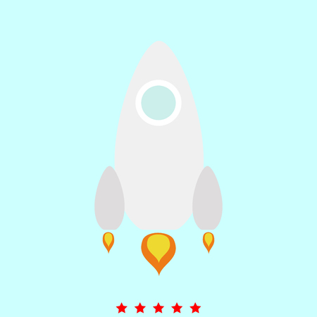 Rocket  set  it is color icon . Simple style .