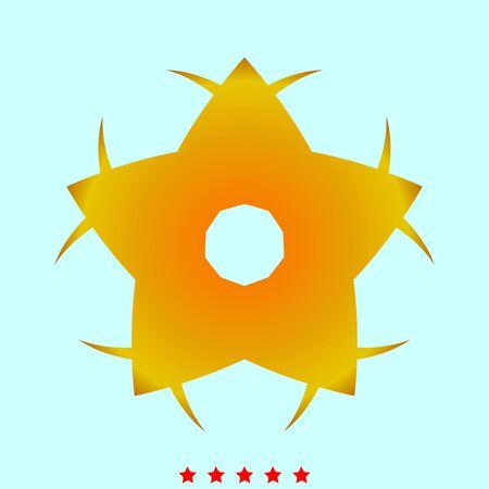 Geel ster bloem eenvoudige stijlicoon. Stock Illustratie